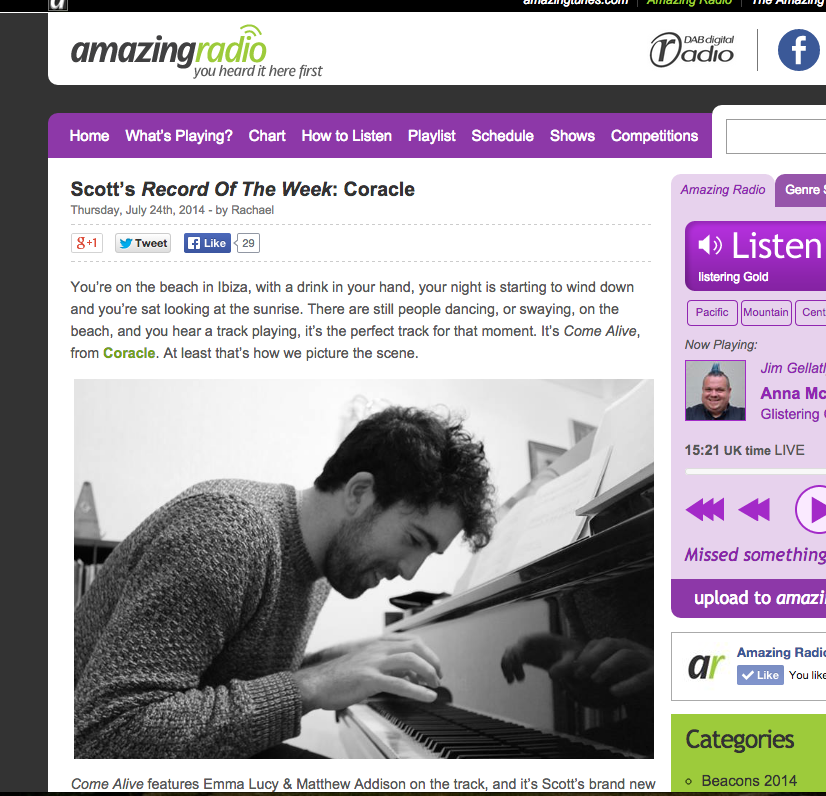 My single 'Come Alive' is Record of the Week on Amazing Radio!