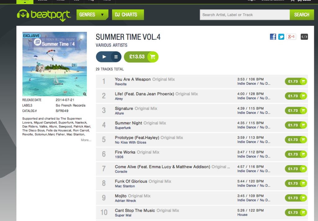Compilation ft. Coracle charts at no. 21 on Beatport!