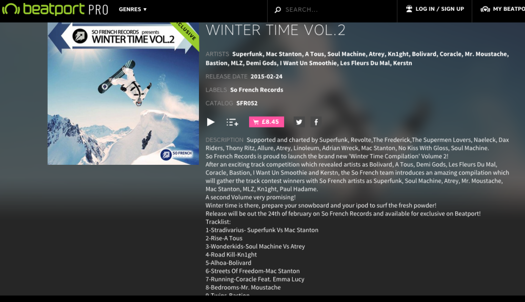 'Running' released on So French Records' 'Wintertime' Compilation!