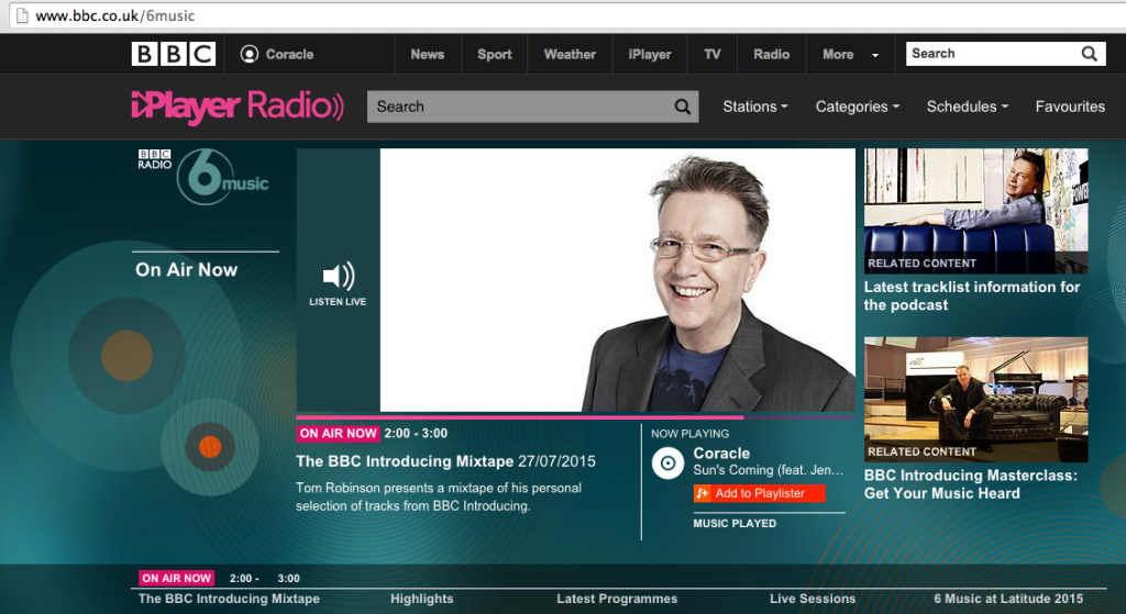 Sun's Coming part of Tom Robinson's BBC6 Mixtape!